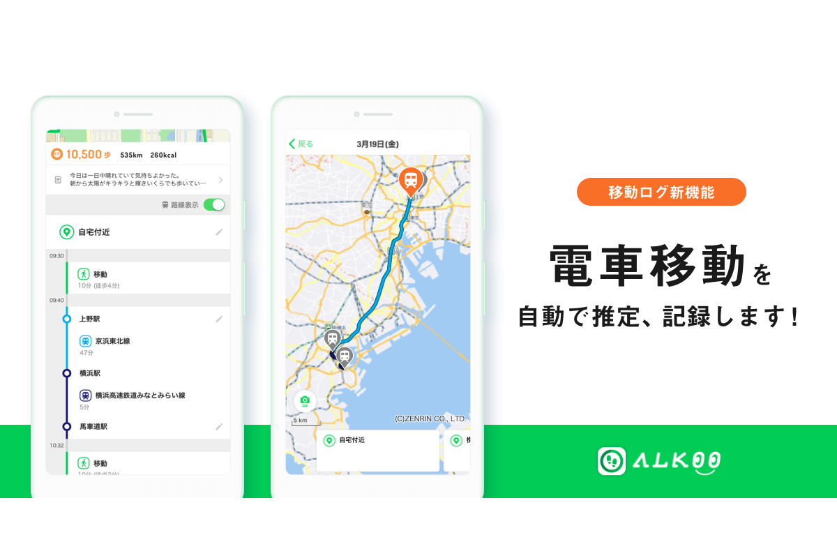 『ALKOO by NAVITIME』、移動ログにて、乗車した電車の駅と路線表示が可能に