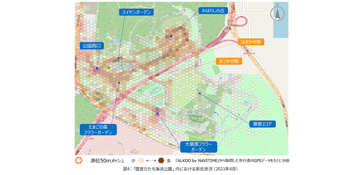 図 4:「国営ひたち海浜公園」内における測位状況(2021年4月).png